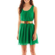 by&by Sleeveless Belted Dress