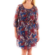 My Michelle® Short-Sleeve Paisley Print Belted Chiffon Dress - Plus