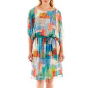 Robbie Bee® Short-Sleeve Print Blouson Dress - Petite