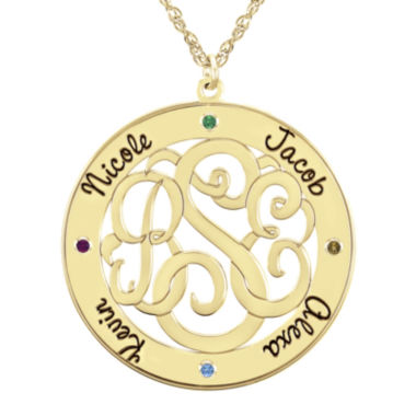 jcpenney.com | Personalized 14K Gold Over Sterling Silver 30mm Family Birthstone Pendant Necklace
