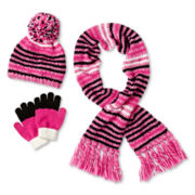 Toby 3-pc. Striped Hat, Scarf & Gloves Set - Girls 6-16