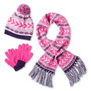 Toby 3-pc. Chevron Hat, Scarf & Gloves Set - Girls 6-16