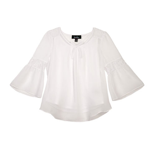 by&by Girl Lace Back Bell Sleeve Peasant Top - Girls 7-16