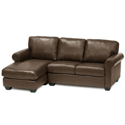 Leather Possibilities Roll-Arm 2-pc.Left-Arm Sectional