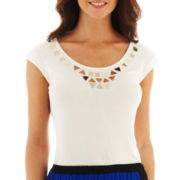 Worthington® Cap-Sleeve Embellished Top - Tall