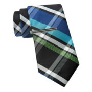JF J. Ferrar® Large Multi Plaid Tie and Tie Bar Set