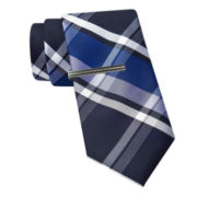JF J. Ferrar® Large Multi Plaid Tie and Tie Bar Set