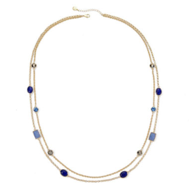 jcpenney.com | Monet® Blue Stone Gold-Tone 2-Row Station Necklace