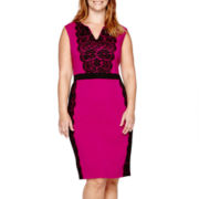 Danny & Nicole® Cap-Sleeve Lace Panel Sheath Dress - Plus