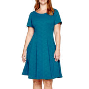 Danny & Nicole Elbow-Sleeve Wavy Fit-and-Flare Dress - Plus