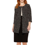 Danny & Nicole® 3/4-Sleeve Dot Print Jacket Dress - Plus