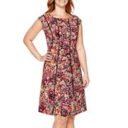 London Style Collection Cap-Sleeve Print Fit-and-Flare Dress - Plus