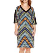 London Style Collection Dolman-Sleeve Print Shift Dress - Plus