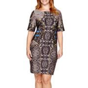 Danny & Nicole® Elbow-Sleeve Sheath Dress - Plus