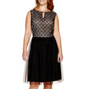 London Style Collection Sleeveless Lace-Bodice Fit-and-Flare Dress - Plus