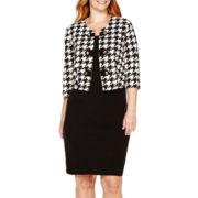 Studio 1® 3/4-Sleeve Houndstooth Jacket Dress - Plus