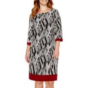 Studio 1® 3/4-Sleeve Print Sheath Dress - Plus