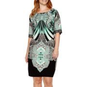 Sandra Darren Elbow-Sleeve Print Sheath Dress - Plus