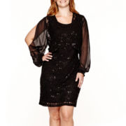 Scarlett Long-Sleeve Lace Jacket Dress - Plus