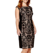 London Times Collection Cap-Sleeve Lace Sheath Dress - Plus