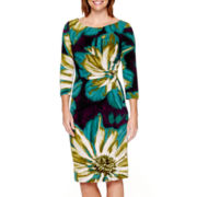 RN Studio by Ronni Nicole 3/4-Sleeve Side-Ruched Sheath Dress - Petite