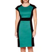 R&K Originals® Cap-Sleeve Colorblock Sheath Dress - Petite
