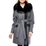 a.n.a® Faux Fur-Trim Wool-Blend Moto Jacket
