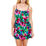 Jamaica Bay® Floral Print Triple-Tier 1-Piece Swimdress - Plus