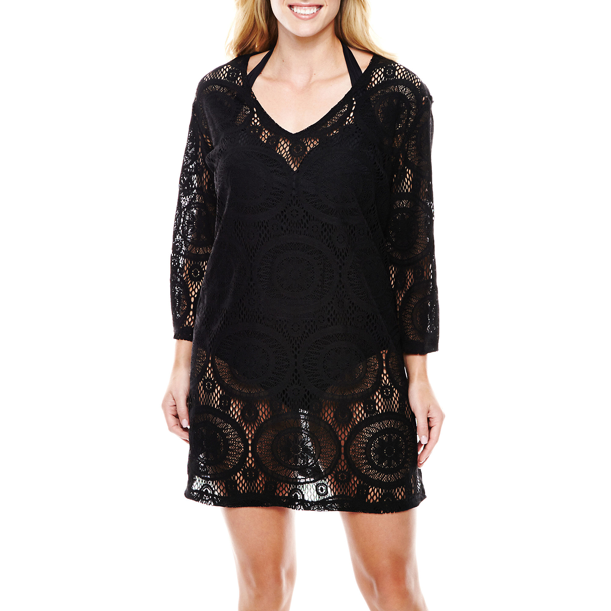 Porto Cruz Medallion Crochet Tunic Cover-Up - Plus