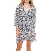 Porto Cruz® Animal Burnout Sharkbite Tunic Cover-Up - Plus