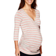 Maternity 3/4-Sleeve Striped Nursing Top