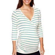 Maternity 3/4-Sleeve Striped Nursing Top - Plus