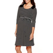 Maternity 3/4-Sleeve Striped Quilted-Shoulder Skater Dress - Plus