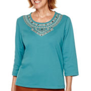Alfred Dunner® Colorado Springs 3/4-Sleeve Tribal Yoke Top - Petite