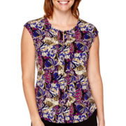 Liz Claiborne® Sleeveless Pleat-Front Top - Petite