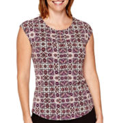 Liz Claiborne® Sleeveless Pleat-Front Top - Petite
