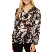 i jeans by Buffalo Long-Sleeve Tie-Front Print Top