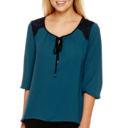 Alyx® 3/4-Sleeve Lace-Shoulder Peasant Top