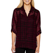 Alyx® 3/4-Sleeve Sharkbite Blouse with Cami