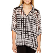 Alyx® 3/4-Sleeve Plaid Sharkbite Blouse with Cami