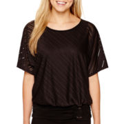 Alyx® Short Dolman-Sleeve Shadowstripe Top