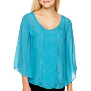 Alyx® 3/4-Sleeve Gauze V-Neck Top