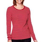St. John's Bay® Long-Sleeve Essential Crewneck T-Shirt