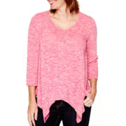 St. John's Bay® 3/4-Sleeve Asymmetrical Shirt - Petite