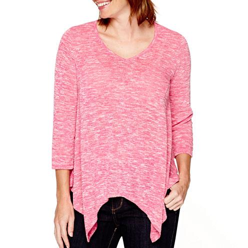 St. John's Bay® 3/4-Sleeve Asymmetrical Shirt - Petite