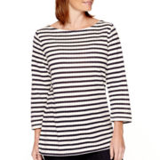 St. John's Bay® 3/4-Sleeve Striped Top - Tall