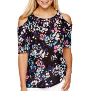 I 'Heart' Ronson® Cold-Shoulder Print Top