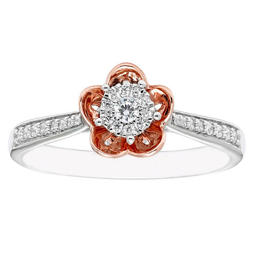 Enchanted By Disney Womens 1/5 CT. T.W. Genuine Round Diamond 10K Gold Promise Ring