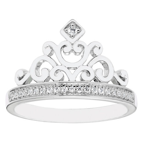 Enchanted By Disney Womens 1/10 CT. T.W. Genuine White Diamond Sterling Silver Cocktail Ring