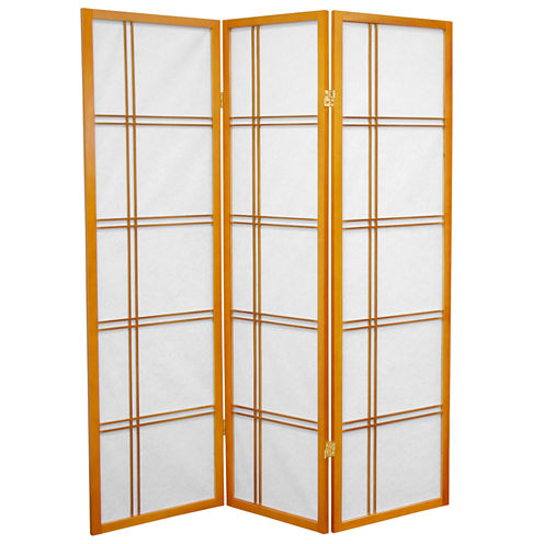 Oriental Furniture 5' Double Cross Shoji 3 Panel Room Divider